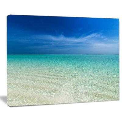 Design Art Turquoise Ocean Under Blue Sky Modern Seascape Canvas Artwork