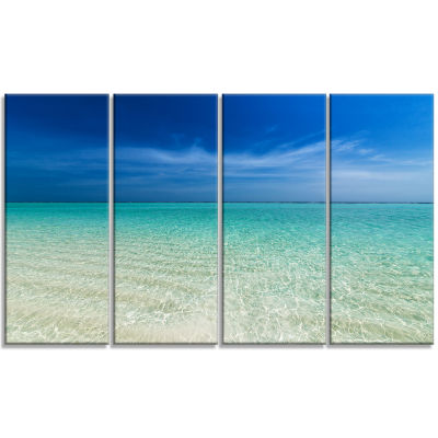 Design Art Turquoise Ocean Under Blue Sky Modern Seascape Canvas Artwork - 4 Panels