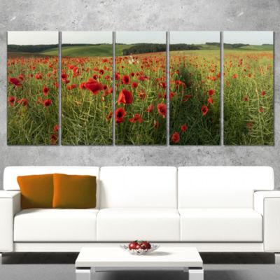 Designart Field Of Red Poppies Flowers Landscape Artwork Canvas - 5 Panels
