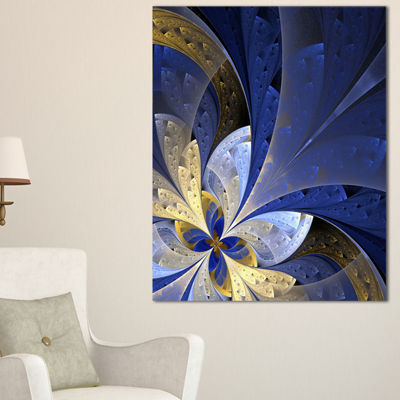 Design Art Blue And Yellow Fractal Pattern Floral Canvas Art Print