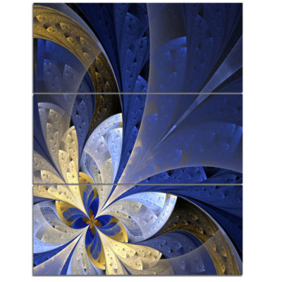 Designart Blue And Yellow Fractal Pattern Floral Canvas Art Print - 3 Panels