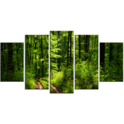 Designart Fascinating Greenery In Wild Forest Canvas Art Print - 5 Panels