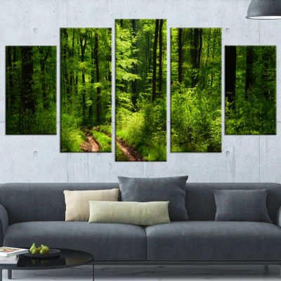 Design Art Fascinating Greenery In Wild Forest Canvas Art Print - 5 Panels