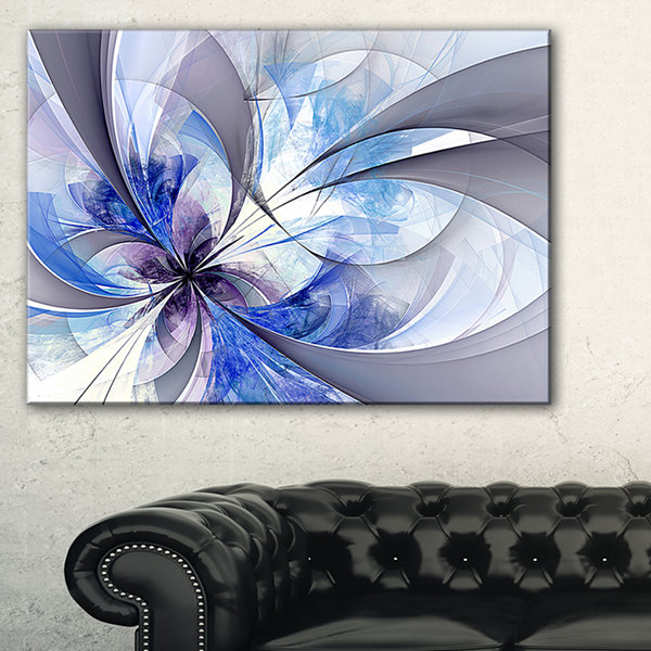 Designart Blue Symmetrical Fractal Flower Canvas Art Print