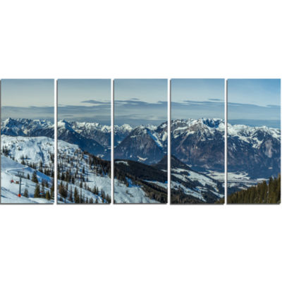 Design Art White Ski Slope Panoramic View Landscape Artwork Canvas - 5 Panels