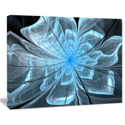 Designart Light Blue Flower With Petals Canvas ArtPrint