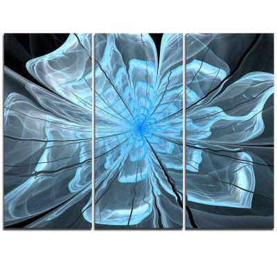 Design Art Light Blue Flower With Petals Canvas Art Print - 3 Panels
