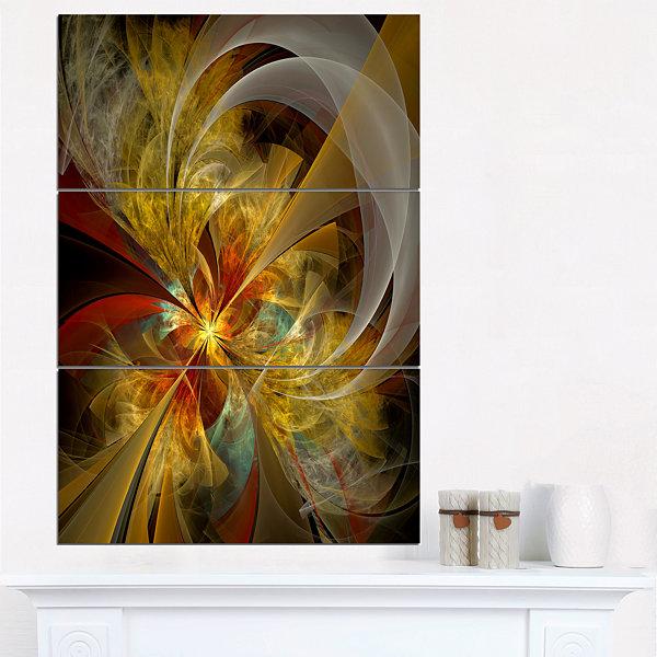 Designart Bright Yellow Symmetrical Flower DesignCanvas Art Print - 3 Panels