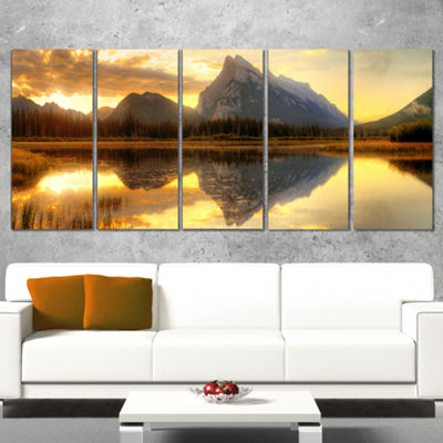 Design Art Vermillion Lake Sunrise In Banff Park Landscape Canvas Art Print - 5 Panels