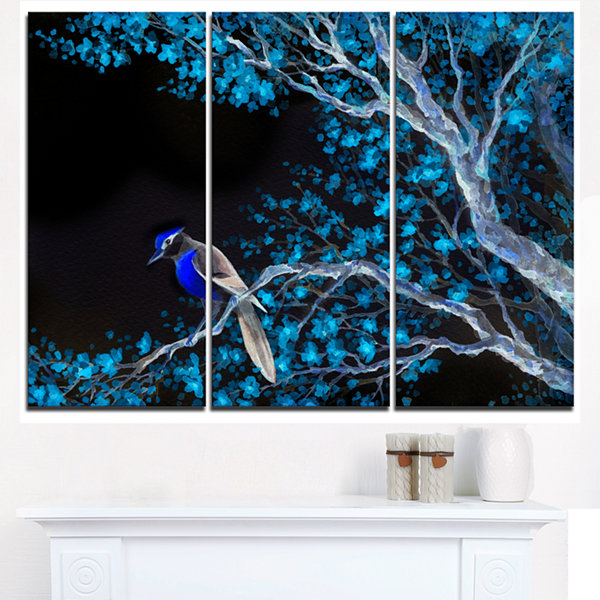 Design Art Beautiful Bird On Flowering Branch Canvas Art Print - 3 Panels