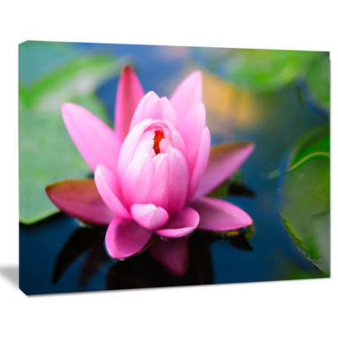 Design Art Lotus Flower In The Pond Canvas Art Print