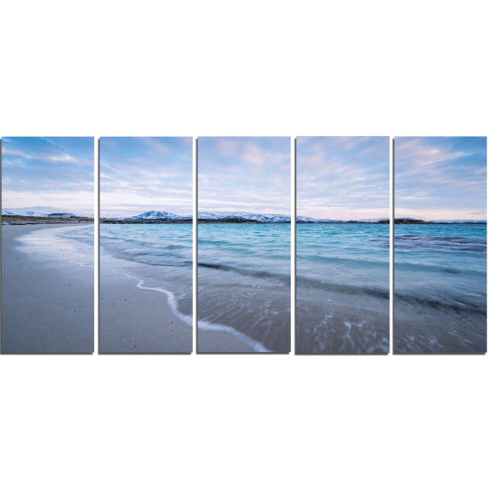 Designart Waves Splashing The Calm Seashore ModernCanvas Artwork - 5 Panels