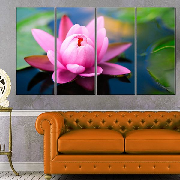 Designart Lotus Flower In The Pond Canvas Art Print - 4 Panels