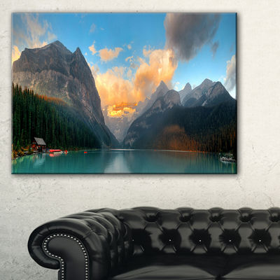 Design Art Lake Louise Sunrise Banff Park Modern Seascape Canvas Artwork