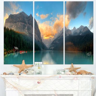 Designart Lake Louise Sunrise Banff Park Modern Seascape Canvas Artwork - 3 Panels