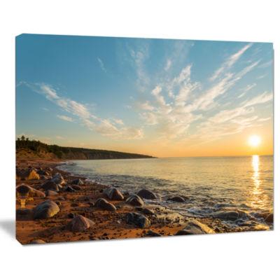 Design Art Ocean Shore At Sunrise With Rocks Modern Canvas Artwork