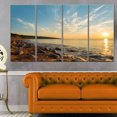 Designart Ocean Shore At Sunrise With Rocks Modern Canvas Artwork - 4 Panels