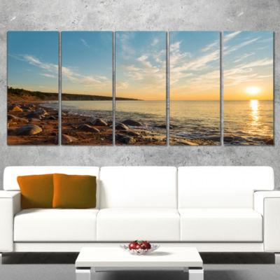 Designart Ocean Shore At Sunrise With Rocks Modern Canvas Artwork - 5 Panels