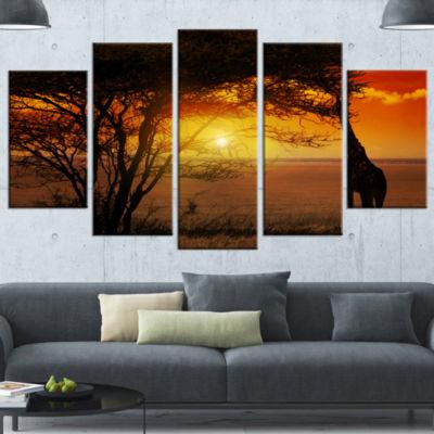 Designart Typical African Sunset With Giraffe African Landscape Canvas Art - 5 Panels