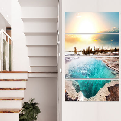 Design Art Crystal Clear Lake In Yellowstone Landscape Canvas Art - 4 Panels