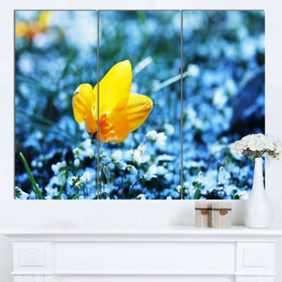 Designart Beautiful Yellow Flower On Blue Art Canvas Print - 3 Panels