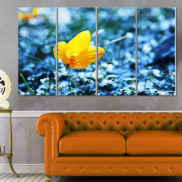 Design Art Beautiful Yellow Flower On Blue Art Canvas Print - 4 Panels