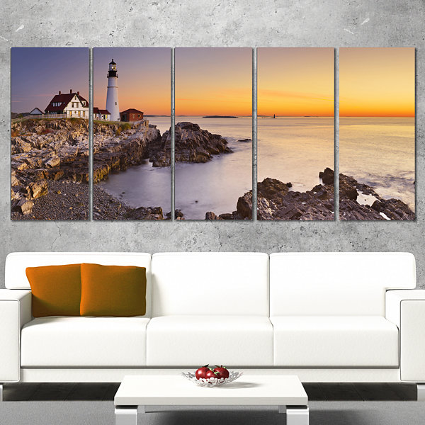 Designart Portland Head Lighthouse Maine Modern Seascape Canvas Artwork - 5 Panels