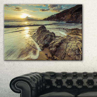 Design Art Sunset At Beach Vintage Style Modern Seascape Canvas Artwork
