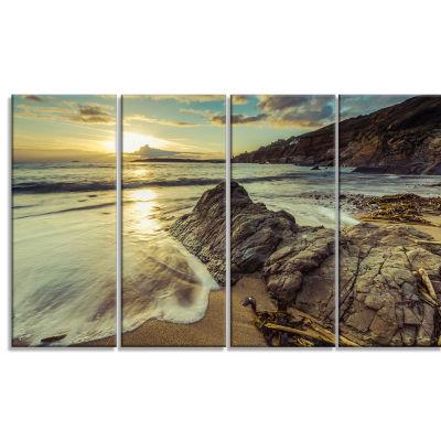 Designart Sunset At Beach Vintage Style Modern Seascape Canvas Art work - 4 Panels