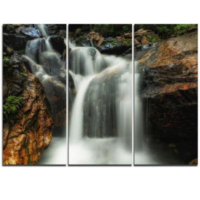 Designart Slow Motion Waterfall On Rocks LandscapeCanvas Art Print - 3 Panels