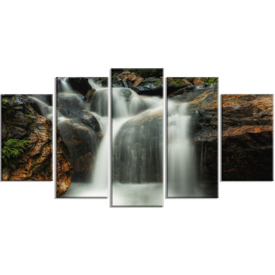 Design Art Slow Motion Waterfall On Rocks Landscape Canvas Art Print - 5 Panels