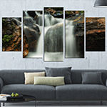 Designart Slow Motion Waterfall On Rocks LandscapeCanvas Art Print - 5 Panels