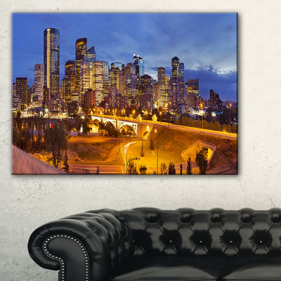 Design Art Skyline Of Calgary At Night Panorama Modern Cityscape Canvas Wall Art