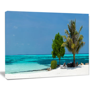 Designart Beach With White Sand And Turquoise Water Modern Seascape Canvas Artwork