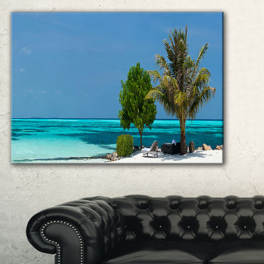 Design Art Beach With White Sand And Turquoise Water Modern Seascape Canvas Artwork