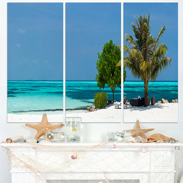 Designart Beach With White Sand And Turquoise Water Modern Seascape Canvas Artwork - 3 Panels