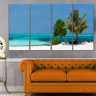 Designart Beach With White Sand And Turquoise Water Modern Seascape Canvas Artwork - 4 Panels