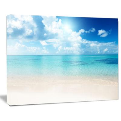 Designart Sand Of Beach In Blue Caribbean Sea Modern Canvas Artwork