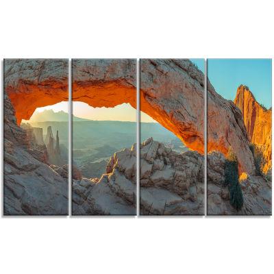 Design Art Mesa Arch Canyon Lands Utah Park Landscape Canvas Art Print - 4 Panels