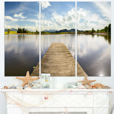 Design Art Pier Into Sea Bavaria Panorama Art Canvas Print - 3 Panels