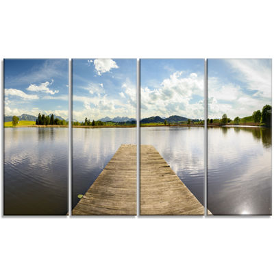 Designart Pier Into Sea Bavaria Panorama Art Canvas Print - 4 Panels