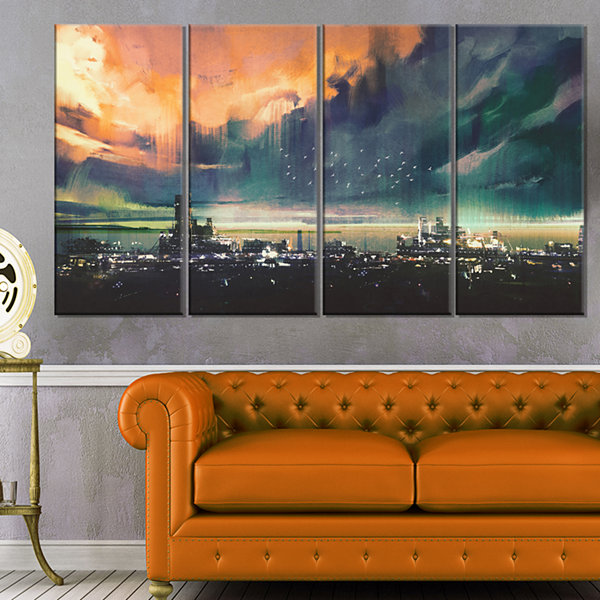 Design Art Abstract Sci Fi City Watercolor Photography Canvas Art - 4 Panels