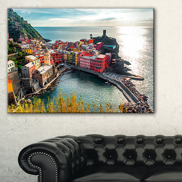 Designart Vernazza Bay Aerial View Seascape Art Canvas Print