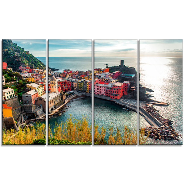 Design Art Vernazza Bay Aerial View Seascape Art Canvas Print - 4 Panels