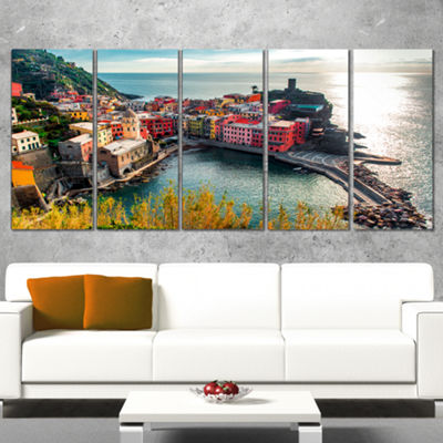 Designart Vernazza Bay Aerial View Seascape Art Canvas Print - 5 Panels