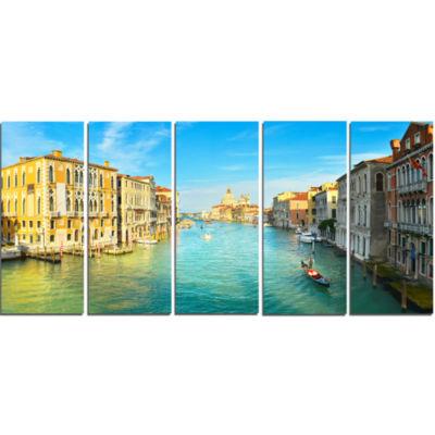 Design Art Vibrant Evening Venice Italy Cityscape Canvas Art Print - 5 Panels