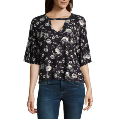 Eyeshadow Long Sleeve V Neck Jersey Floral Blouse-Juniors