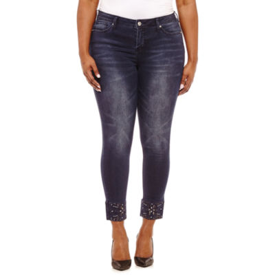 "Hydraulic 28"" Jeweled Ankle Jean-Juniors Plus"