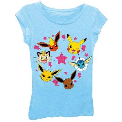 Pokemon Girl's Faces with Stars and Lightning Bolts Short Sleeve Graphic T-Shirt with Pink Glitter