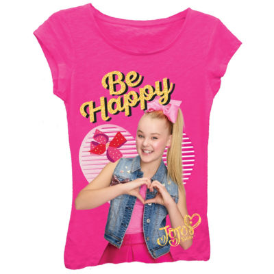"""JoJo Siwa """"Be Happy"""" with Hands in Heart Short Sleeve Graphic T-Shirt with Gold Glitter Girl's 4-16"""